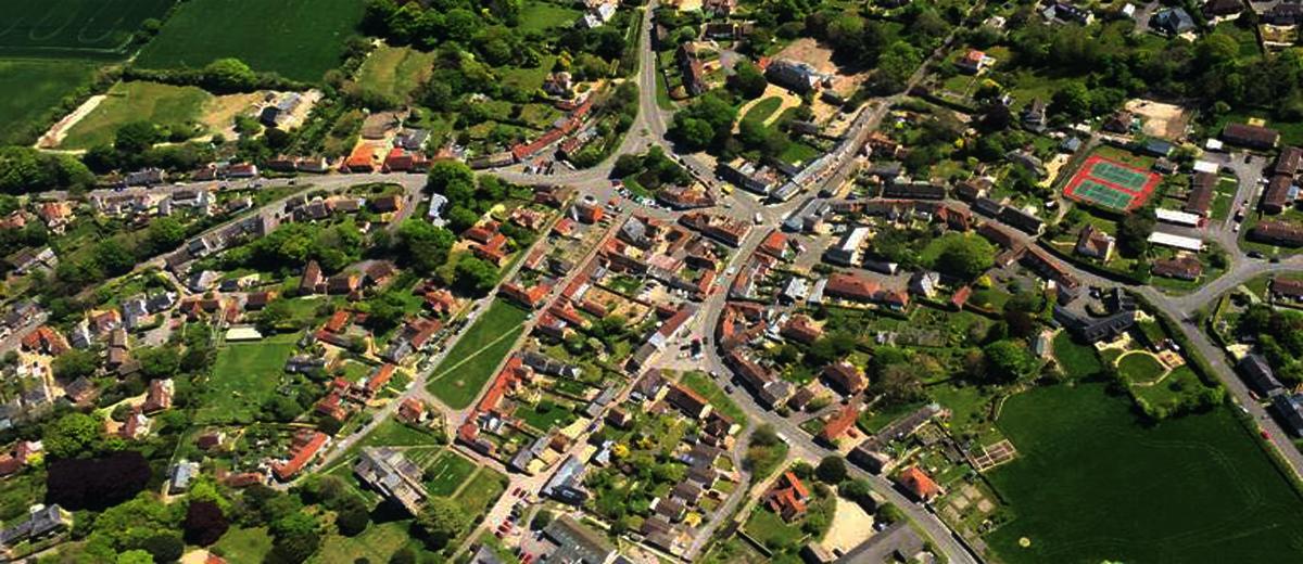 Ariel view of the village of Aldbourne in Wiltshire